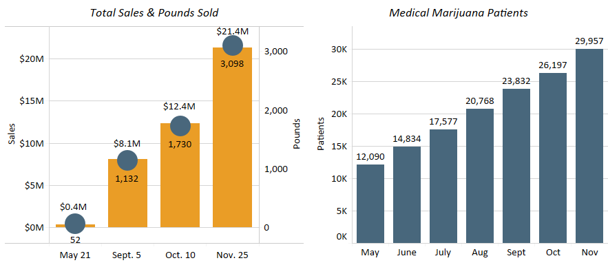 Chart 46: Arkansas 2019 Medical Marijuana Sales and Patient Count  Source: Intro-Blue, Marijuana Business Daily