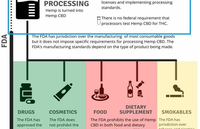 "Chart 1: The Lack of Regulatory Clarity on Hemp Processing in the U.S. Is Reflected in the DEA's Ambiguous IFR  Source: Intro-Blue, Harris Bricken article titled ""Federal Policy on Hemp CBD Is Taking Shape: What Needs to Be Addressed?"""