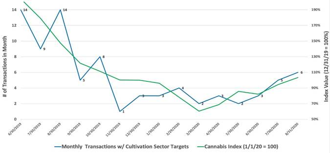 Chart 27: Cannabis Cultivation & Retail Sector Acquisitions vs Cannabis Stock Index Source: Intro-Blue, Viridian Capital Advisors